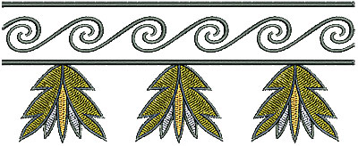 Embroidery Design: Southwest swirl floral border 6.21w X 2.50h