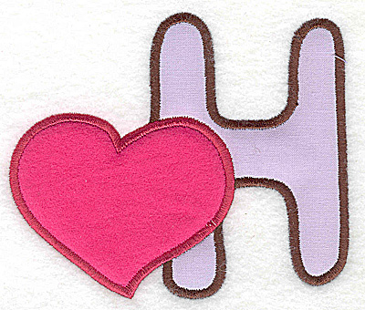 Embroidery Design: H heart small double applique 3.88w X 3.29h