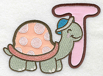 Embroidery Design: T turtle small double applique 3.87w X 2.90h