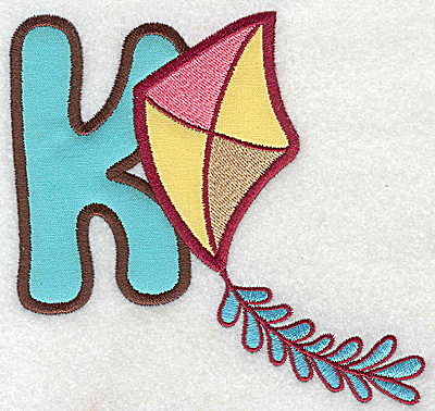 Embroidery Design: K kite large double applique 4.80w X 4.98h