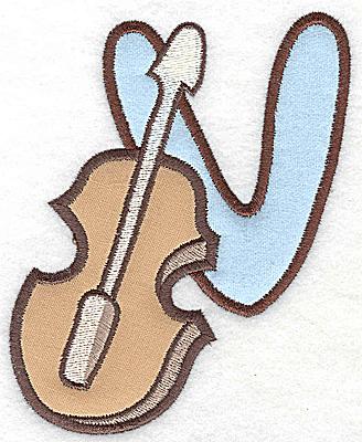 Embroidery Design: V violin large double applique 4.11w X 4.96h