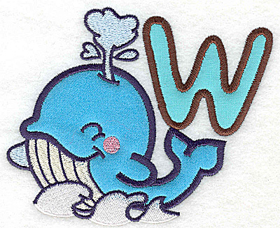 Embroidery Design: W whale large double applique 4.96w X 4.15h