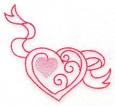 Embroidery Design: Heart and banner 3.08w X 2.93h