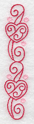 Embroidery Design: Hearts and banners vertical 0.78w X 3.85h