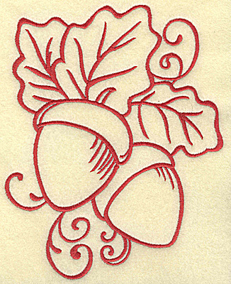 Embroidery Design: Acorns with leaves large 5.57w X 6.98h