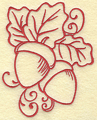 Embroidery Design: Acorns with leaves medium 3.98w X 4.99h