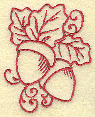 Embroidery Design: Acorns with leaves small 2.80w X 3.50h