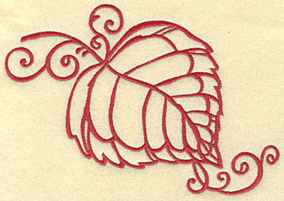 Embroidery Design: Leaf with swirls large 7.00w X 4.89h