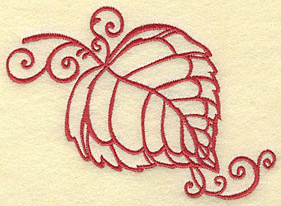Embroidery Design: Leaf with swirls medium 5.00w X 3.49h