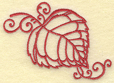 Embroidery Design: Leaf with swirls small 3.50w X 2.45h