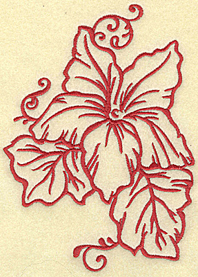 Embroidery Design: Flower and leaves large 5.00w X 6.95h