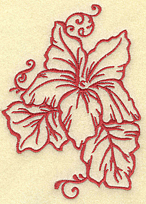 Embroidery Design: Flower and leaves medium 3.57w X 4.97h