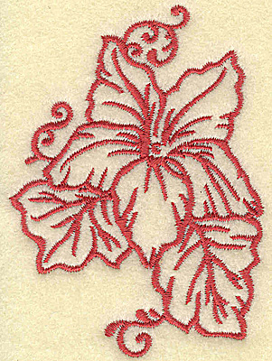 Embroidery Design: Flower and leaves small 2.53w X 3.54h