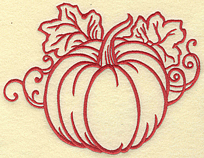 Embroidery Design: Pumpkin with leaves large 7.44w X 5.74h