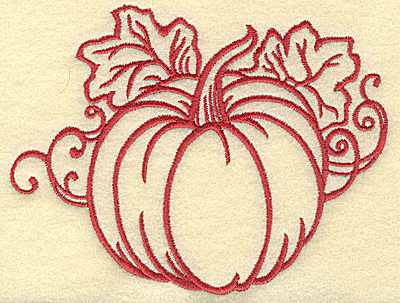 Embroidery Design: Pumpkin with leaves medium 5.32w X 4.10h