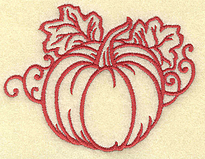 Embroidery Design: Pumpkin with leaves small 3.80w X 2.54h