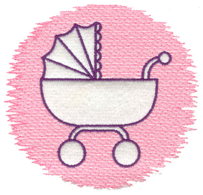Embroidery Design: Trapunto baby carriage large 4.99w X 4.66h