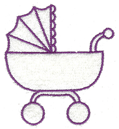 Embroidery Design: Baby carriage outline large 3.38w X 3.72h