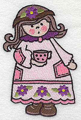 Embroidery Design: Cute girl large 3.23w X 4.98h