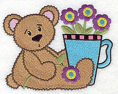 Embroidery Design: Teddy bear with flowers in cup large 4.97w X 3.97h