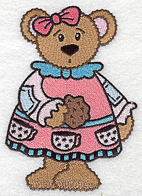 Embroidery Design: Teddy bear in dress large 3.53w X 4.99h