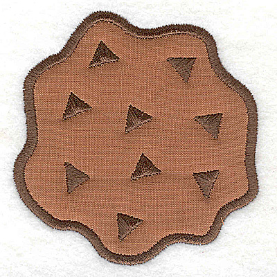 Embroidery Design: Chocolate chip cookie applique 3.37w X 3.47h