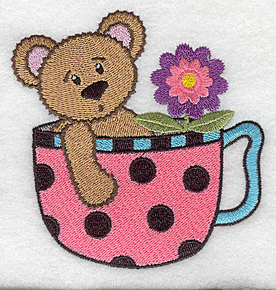 Embroidery Design: Teddy bear in teacup small 3.75w X 3.89h