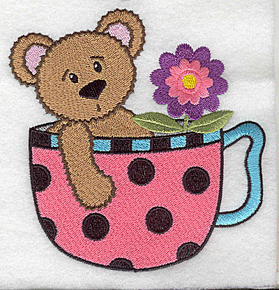 Embroidery Design: Teddy bear in teacup large 4.79w X 4.98h