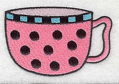 Embroidery Design: Polka dot teacup 3.16w X 1.09h