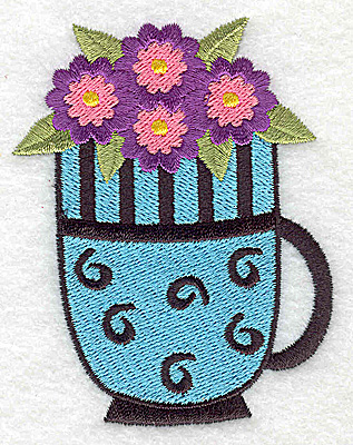 Embroidery Design: Flowers in a mug 2.71w X 3.51h
