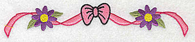 Embroidery Design: Bow ribbon and flowers 6.84w X 1.28h