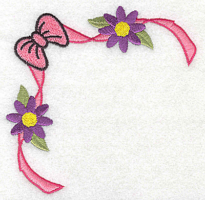 Embroidery Design: Bow ribbon and flowers corner 3.81w X 3.81h
