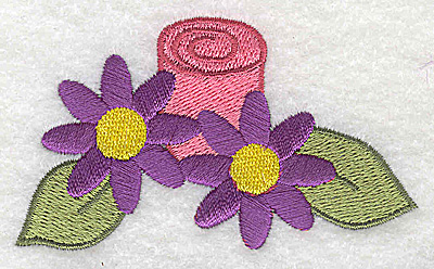Embroidery Design: Flowers with candle 3.41w X 2.00h
