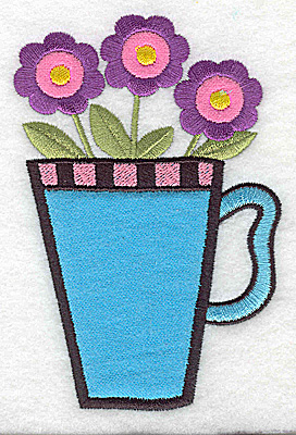 Embroidery Design: Three flowers in a mug double applique 3.28w X 4.95h