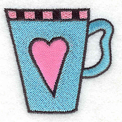 Embroidery Design: Teacup with heart 2.20w X 2.15h