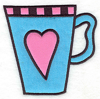 Embroidery Design: Teacup with heart double applique 5.02w X 4.91h