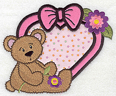 Embroidery Design: Teddybear next to framed heart double applique 5.12w X 4.33h