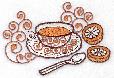 Embroidery Design: Tea with lemon large 4.99w X 3.39h