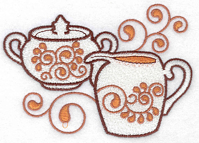 Embroidery Design: Sugar bowl and creamer large 4.99w X 3.53h