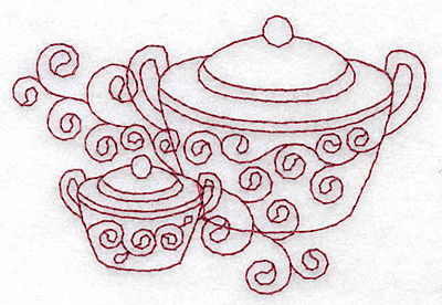 Embroidery Design: Sugar bowls redwork 3.87w X 2.62h