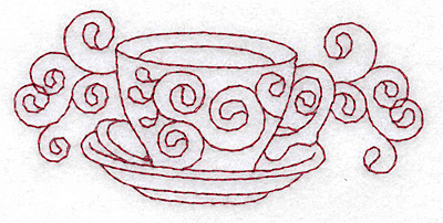 Embroidery Design: Teacup redwork 3.83w X 1.77h
