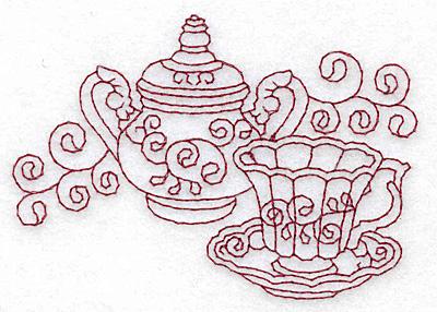 Embroidery Design: Teacup and sugar bowl redwork 3.87w X 2.71h