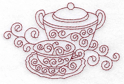 Embroidery Design: Sugar bowl and teacup redwork 3.86w X 2.55h
