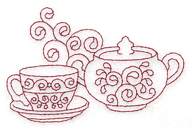 Embroidery Design: Teacup and sugar bowl redwork 3.85w X 2.49h