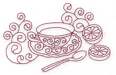 Embroidery Design: Tea with lemon redwork 3.79w X 2.45h