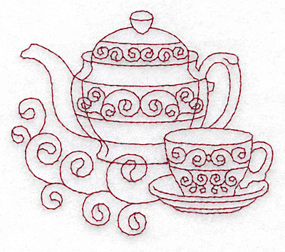 Embroidery Design: Teapot and teacup redwork 3.88w X 3.37h