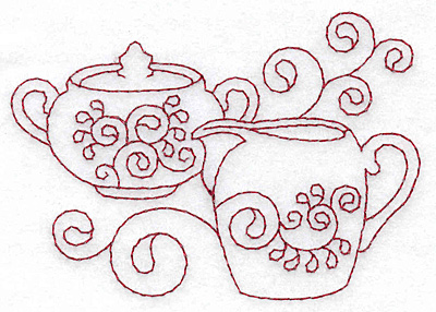 Embroidery Design: Sugar bowl and creamer redwork 3.89w X 2.75h