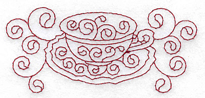 Embroidery Design: Teacup and saucer redwork 3.87w X 1.74h