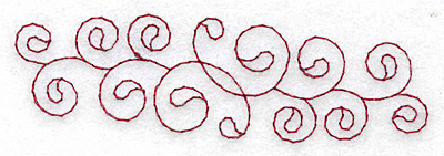 Embroidery Design: Horizontal swirls redwork 3.84w X 1.13h