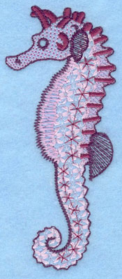"""Embroidery Design: Seahorse large  5.15""""h x 2.16""""w"""